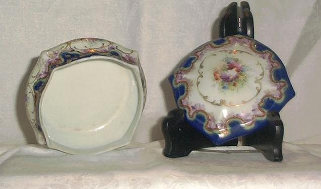 Porcelain Hand Painted Covered Dresser Dish