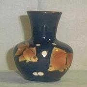 Cobalt Blue Vase With Goldfish Motif