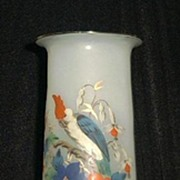 Beautiful Parrot And Fuscia Decorated Bristol Glass Vase