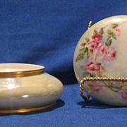 Powder Jar With Rose Blossom Decoration Made In France
