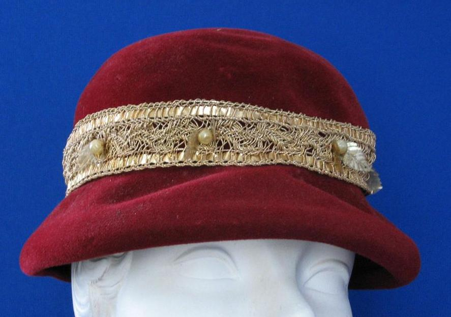 Vintage Burgundy  Hat With Gold Band