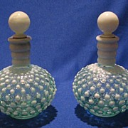 Pair Of Fenton French Opalescent Cologne Bottles