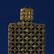 Filigree Perfume Bottle With Green Jewel On Top