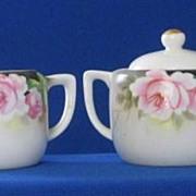 Noritake Pink Rose Decorated Creamer And Covered Sugar