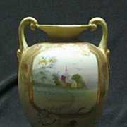 Two Handled Noritake Nippon Hand Decorated Vase