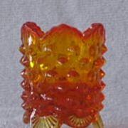 Fenton Orange Hobnail Toothpick Holder
