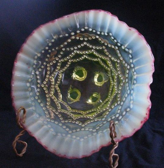 "Jefferson Glass ""Beaded Drape"" Topaz Opalescent Bowl"