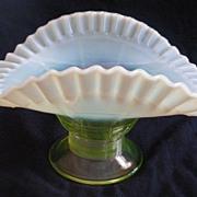 Jefferson Glass Green Block Optic Opalescent Banana Boat