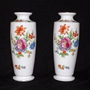 Pair Of Noritake Flower Decorated Vases