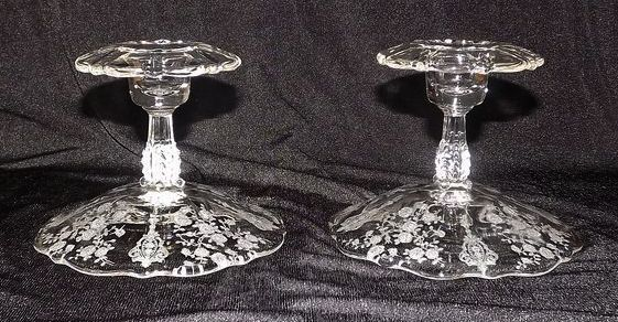 """Cambridge """"Rose Point"""" Footed Single Candlesticks"""
