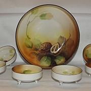 Noritake Hand Painted Walnut Decorated Nut Dish Set