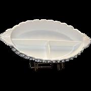 Unmarked Fenton Milk Glass Three Part Relish Dish