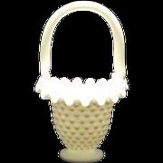 Fenton Small Hobnail Milk Glass Basket