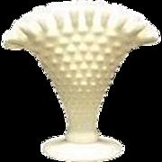 Unmarked Fenton Mini Hobnail Milk Glass Fan Vase