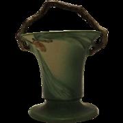 Roseville Pottery Pinecone Pattern Basket Form 338-10