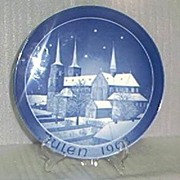 Julen 1968 Blue and White Porcelain Christmas Plate-Made in West Germany