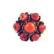RADIANT Late Georgian Red Coral/Silver Gilt Flower Motif Ring, c.1830!