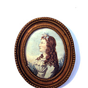 LOVELY English Portrait Miniature of a Pretty Young Girl w/Auburn Hair, c.1790!