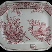 Large Red Transferware Platter ~ SEAWEED 1884