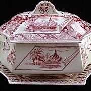 Red Transferware Aesthetic Tureen & Stand ~ Canterbury 1883