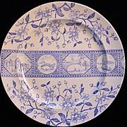 Aesthetic LAMB Blue Transferware Plate ~ Atlantic 1883