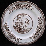 Brown Aesthetic Transferware Plate ~ Bird & Nature 1876