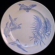 Aesthetic Blue Transferware Plate ~ Geese 1885