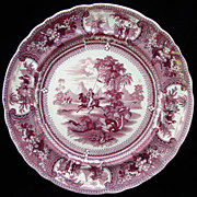 SALE Large Staffordshire Transferware Plate ~ BELZONI ~ OSTRICH 1830