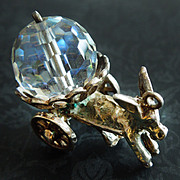 Vintage English Donkey Cart Carrying Crystal Ball Sterling Silver Charm