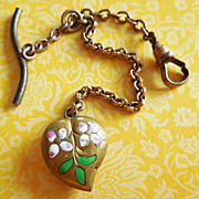 Vintage Enamel Two Pink Flowers Puffy Heart Watch Fob Charm