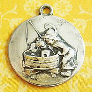 "Vintage 1900's ""Gone Fishing"" German Austrian Silver Relief Charm"