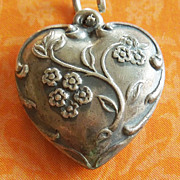 Vintage Forget Me Nots Puffy Heart Sterling Silver Charm