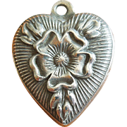 Vintage Tudor Rose Puffy Heart Sterling Silver Charm ~ Hand-engraved JULIA