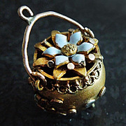 Victorian Enameled Kettle with Flowers Gold-Filled Fob Charm