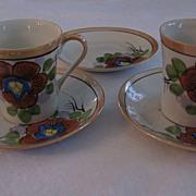 Pair Hibiscus Flower Japan Lustre Demitasse Cups and Saucers