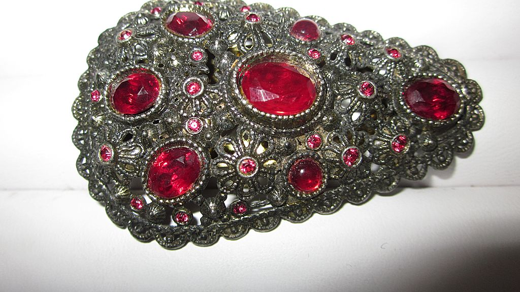 1930's New England Glass Co. Red Stone Dress Clip