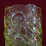 EAPG Vaseline Glass Toothpick Holder, National or S-Repeat Pattern