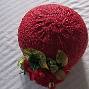 Red Woven Straw Cloche with Red Roses