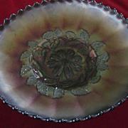 Carnival Glass Blue Iridescent Rose Bowl