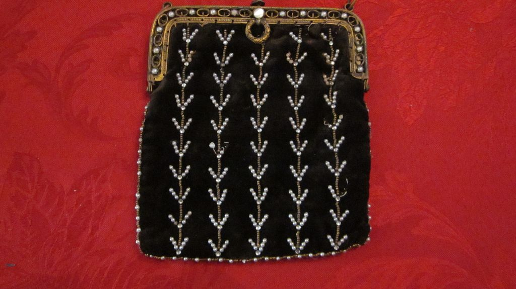 Black Velvet Pearl Decorated Evening Bag, marked Paris France