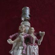1950's Boudoir Lamp, Dancing Couple, White, Pink, Gold, Japan
