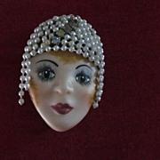 Ceramic/Rhinestone/Pearl Flapper Girl Brooch