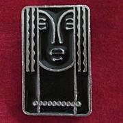 Ritz Black Enamel and Pewter Lady Pin
