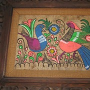 """Mexican Amate Bark Painting in Hand Carved Frame, 16"""" X 20"""""""
