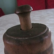 Wooden Butter Mold with Carved Wheat Sheaf Design