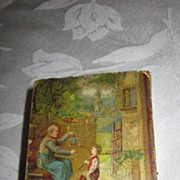 Vintage Wooden Box Bank with Picture of Boy and Toymaker