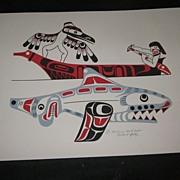 "Richard Hunt, Kwakiutl Signed Numbered Print ""Gathering Sandpaper"""