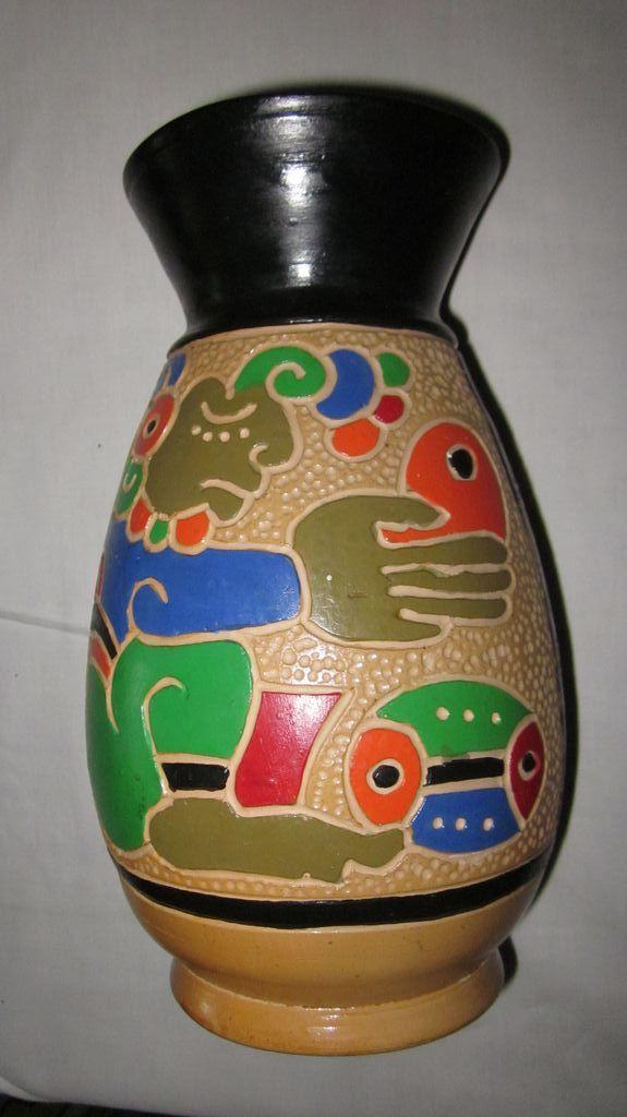 "Mayan Design Terra Cota/Polychrome 10"" Vase"