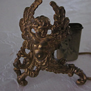 Gold Plated Tin Cherub Figural Toothpick Holder