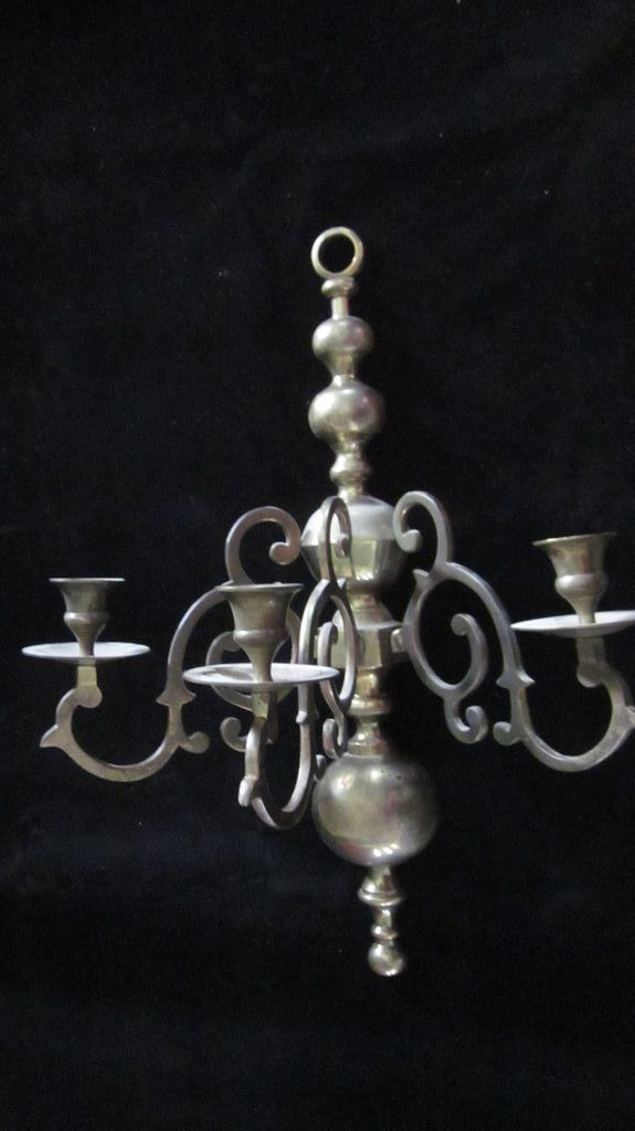 Early American Revival Brass 3 Light Candle Wall Sconce